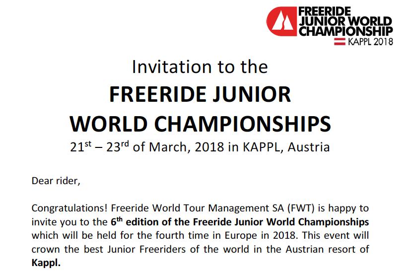 Invitación Freeride Junior World Championship 2018